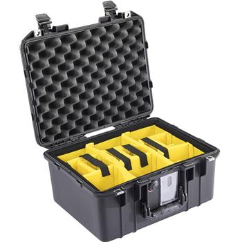 Black Pelican™ 1507 Air Case with yellow padded dividers