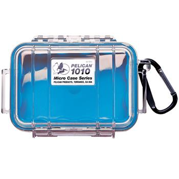 Clear Pelican 1010 Micro Case with Blue Liner