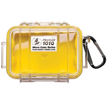 Clear Pelican 1010 Micro Case with Yellow Liner