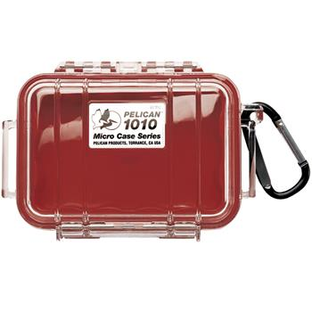 Clear Pelican 1010 Micro Case  with Red Liner