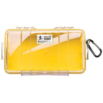 Clear Pelican 1060 Micro Case with Yellow Liner