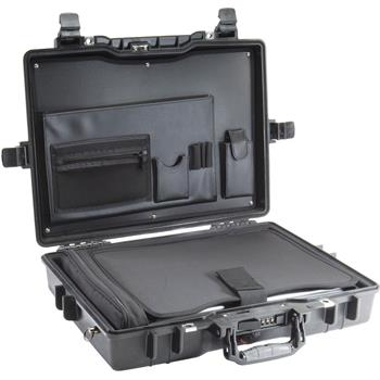 Black Pelican 1495CC#1 Laptop Case with Fitted Tray & Lid Organizer