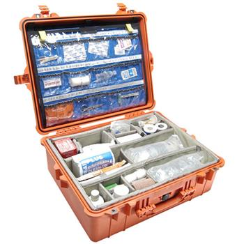 Orange Pelican 1600EMS Case with Padded Dividers and Lid Organizer (Contents Shown not Included)