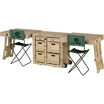 Olive Drab Double Duty Field Desk with 2 Attachable Tables and 2 Chairs