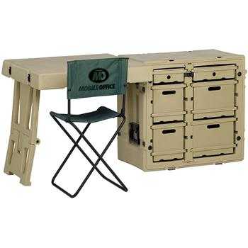 Olive Drab Pelican Field Desk with Attachable Table & Chair