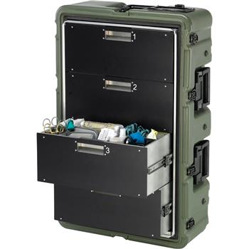 Olive Drab 4 Drawer Medical Supply Case (Contents Shown Not Included)