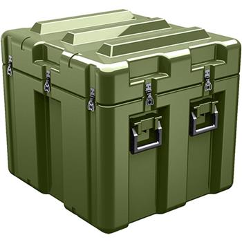 Olive Drab Pelican AL2624-1805 Single Lid Cube Case - No Foam with Casters