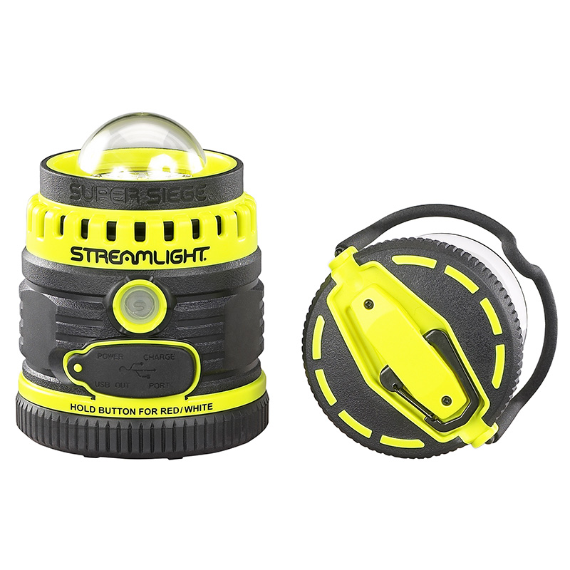 Streamlight Super Siege Rechargeable Lantern with removable cover to provide 360 degree light distribution