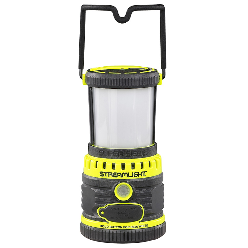 Streamlight Super Siege Rechargeable Lantern handle designed to lock in upright or stowed position