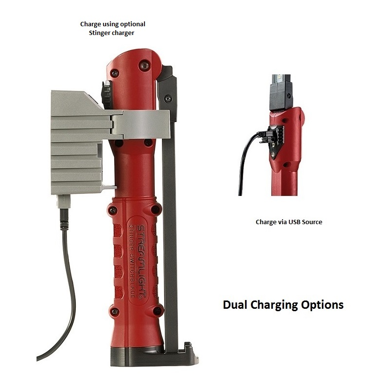 Streamlight Stinger Switchblade - USB Cord - Red | LOWEST PRICES