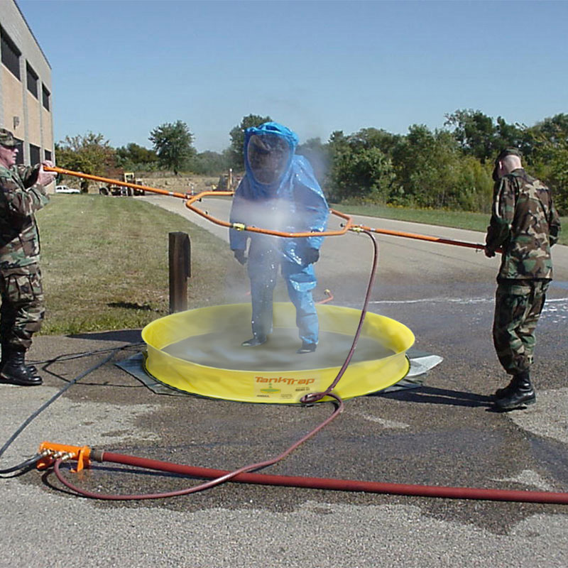 Use the De-Con Spray Hoop to easily wash emergency personnel