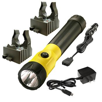 Yellow Streamlight PolyStinger LED Rechargeable Flashlight with AC/DC Charge Cords and 2 Bases