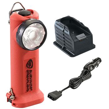 Orange Streamlight Survivor LED Rechargeable Flashlight with DC Charge Cord and 1 Base