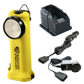 Yellow Streamlight Survivor LED Rechargeable Flashlight with AC/DC Charge Cords and 1 Base